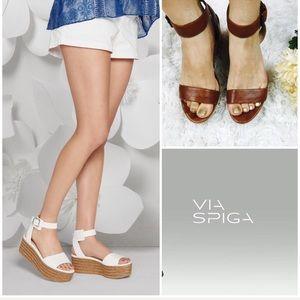Via Spiga Brown Leather Platform Wedge Sandals
